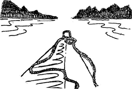 illustration of kayak on the water